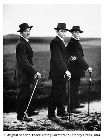 August Sander Three Young Farmers in Sunday Dress 1914